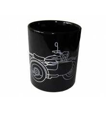 Ural ceramic cup black, URAL side view