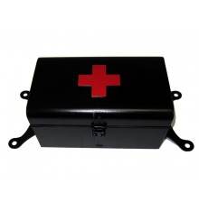 First aid box black matt with red cross