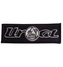 Ural logo sew-on patch black/white 10x3,5cm