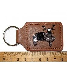 Key holder leather, brown with front view of Motorcycle