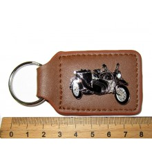 Key holder leather, brown with side view of Motorcycle