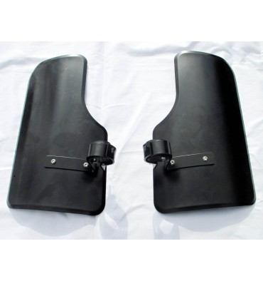Set of leg mudguards with mounting, Black/Stainless